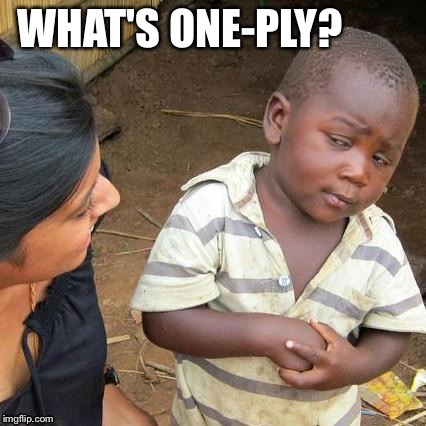 Third World Skeptical Kid Meme | WHAT'S ONE-PLY? | image tagged in memes,third world skeptical kid | made w/ Imgflip meme maker