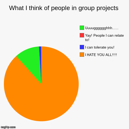 What I think of people in group projects | I HATE YOU ALL!!!!, I can tolerate you!, Yay! People I can relate to!, Uuuugggggghhh...... | image tagged in funny,pie charts | made w/ Imgflip pie chart maker