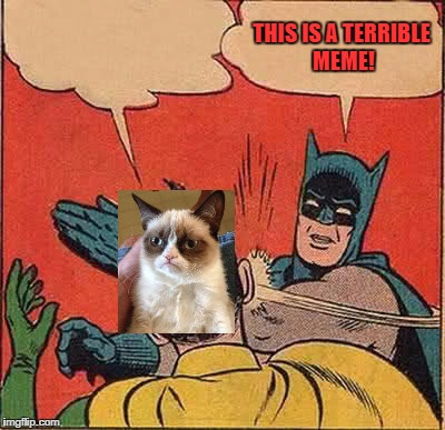 Batman Slapping Robin Meme | THIS IS A TERRIBLE MEME! | image tagged in memes,batman slapping robin | made w/ Imgflip meme maker
