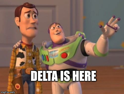 X, X Everywhere Meme | DELTA IS HERE | image tagged in memes,x x everywhere | made w/ Imgflip meme maker