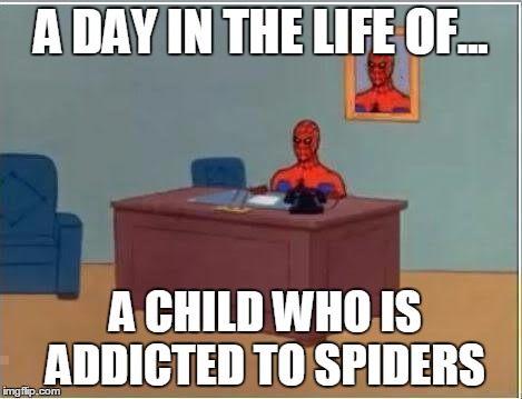 Spiderman Computer Desk Meme | A DAY IN THE LIFE OF... A CHILD WHO IS ADDICTED TO SPIDERS | image tagged in memes,spiderman computer desk,spiderman | made w/ Imgflip meme maker