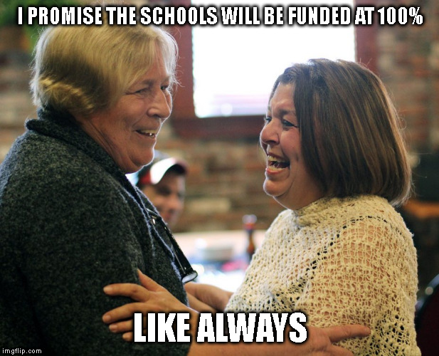 THE TRUTH ON THE SIDE | I PROMISE THE SCHOOLS WILL BE FUNDED AT 100% LIKE ALWAYS | image tagged in mayor,public schools,budget | made w/ Imgflip meme maker