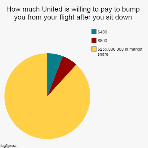What We Learned This Week | How much United is willing to pay to bump you from your flight after you sit down | $255,000,000 in market share, $800, $400 | image tagged in funny,pie charts | made w/ Imgflip chart maker