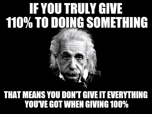 When you find that extra bit and use it, only then did you give it 100%. | IF YOU TRULY GIVE 110% TO DOING SOMETHING THAT MEANS YOU DON'T GIVE IT EVERYTHING YOU'VE GOT WHEN GIVING 100% | image tagged in memes,albert einstein 1,100,give it your all | made w/ Imgflip meme maker
