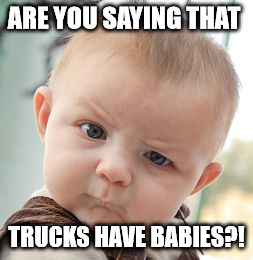 Skeptical Baby Meme | ARE YOU SAYING THAT TRUCKS HAVE BABIES?! | image tagged in memes,skeptical baby | made w/ Imgflip meme maker