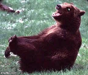 Laughing bear | . | image tagged in laughing bear | made w/ Imgflip meme maker