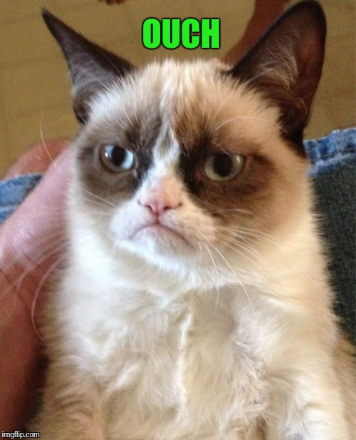 Grumpy Cat Meme | OUCH | image tagged in memes,grumpy cat | made w/ Imgflip meme maker
