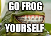 Frog Smile | GO FROG YOURSELF | image tagged in frog smile | made w/ Imgflip meme maker