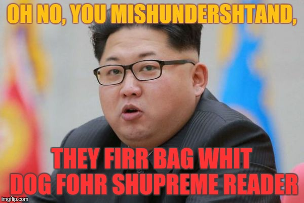 OH NO, YOU MISHUNDERSHTAND, THEY FIRR BAG WHIT DOG FOHR SHUPREME READER | made w/ Imgflip meme maker