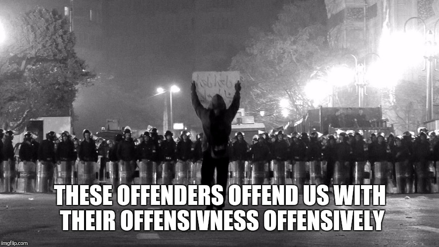 THESE OFFENDERS OFFEND US WITH THEIR OFFENSIVNESS OFFENSIVELY | made w/ Imgflip meme maker