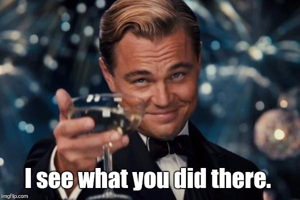 Leonardo Dicaprio Cheers Meme | I see what you did there. | image tagged in memes,leonardo dicaprio cheers | made w/ Imgflip meme maker