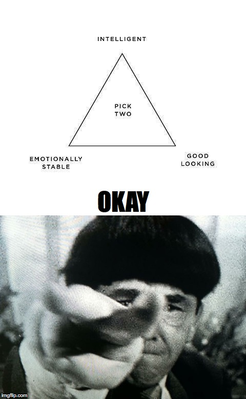Moe Weighs In On Emotional Stability | OKAY | image tagged in moe,three stooges | made w/ Imgflip meme maker