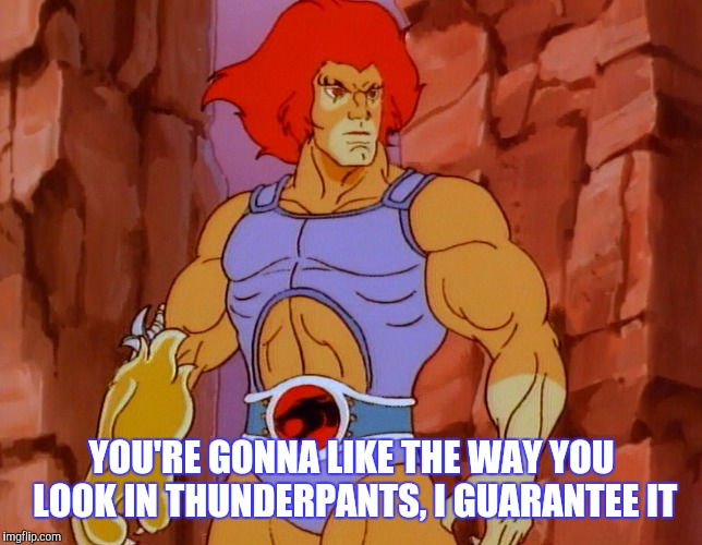 YOU'RE GONNA LIKE THE WAY YOU LOOK IN THUNDERPANTS, I GUARANTEE IT | made w/ Imgflip meme maker