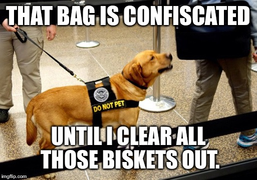 THAT BAG IS CONFISCATED UNTIL I CLEAR ALL THOSE BISKETS OUT. | made w/ Imgflip meme maker