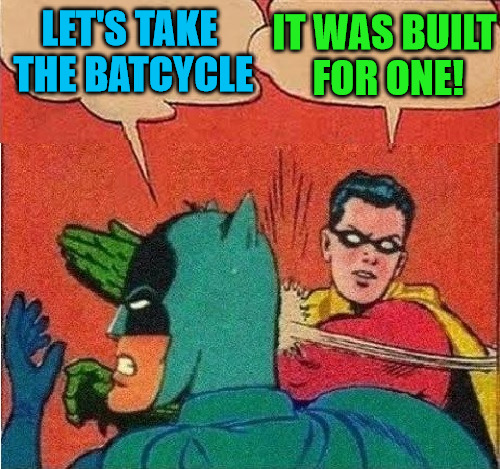 Let's take the batcycle | LET'S TAKE THE BATCYCLE IT WAS BUILT FOR ONE! | image tagged in robin slapping batman double bubble,3rd meme,batcycle,robin strikes back,is that a woodpecker | made w/ Imgflip meme maker