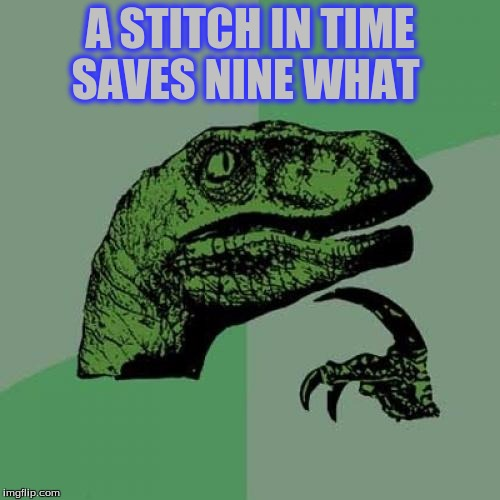 Philosoraptor Meme | A STITCH IN TIME SAVES NINE WHAT | image tagged in memes,philosoraptor | made w/ Imgflip meme maker