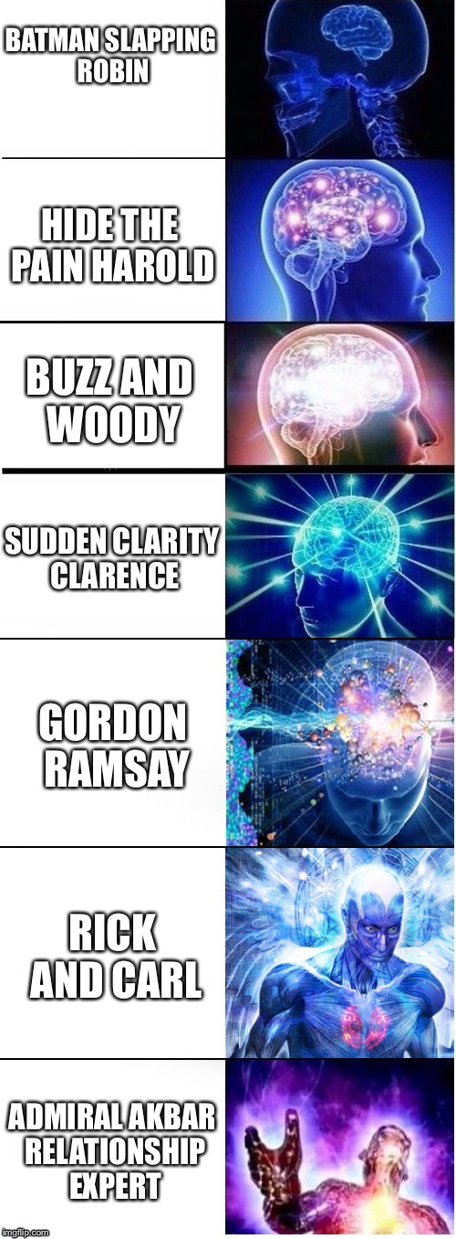 The Scale of Common Memes | BATMAN SLAPPING ROBIN HIDE THE PAIN HAROLD BUZZ AND WOODY SUDDEN CLARITY CLARENCE GORDON RAMSAY RICK AND CARL ADMIRAL AKBAR RELATIONSHIP EXP | image tagged in memes,funny,batman slapping robin,hide the pain harold,buzz and woody,expanding brain | made w/ Imgflip meme maker
