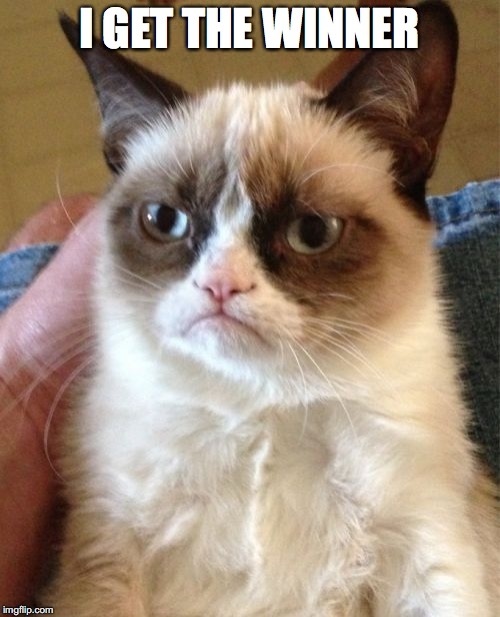Grumpy Cat Meme | I GET THE WINNER | image tagged in memes,grumpy cat | made w/ Imgflip meme maker
