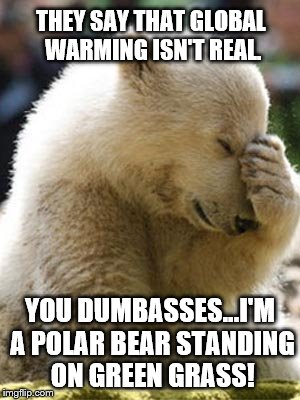 Facepalm Bear |  THEY SAY THAT GLOBAL WARMING ISN'T REAL. YOU DUMBASSES...I'M A POLAR BEAR STANDING ON GREEN GRASS! | image tagged in memes,facepalm bear | made w/ Imgflip meme maker