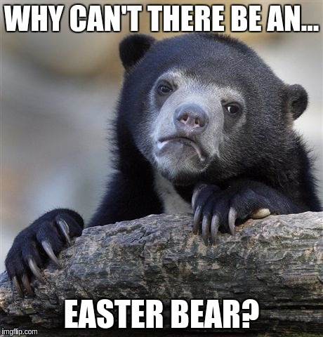 Confession Bear Meme | WHY CAN'T THERE BE AN... EASTER BEAR? | image tagged in memes,confession bear | made w/ Imgflip meme maker