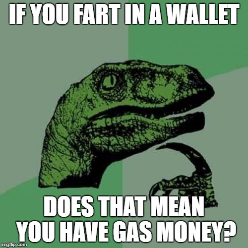 Philosoraptor Meme | IF YOU FART IN A WALLET DOES THAT MEAN YOU HAVE GAS MONEY? | image tagged in memes,philosoraptor | made w/ Imgflip meme maker