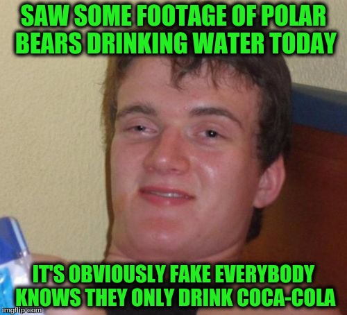 10 Guy Meme | SAW SOME FOOTAGE OF POLAR BEARS DRINKING WATER TODAY IT'S OBVIOUSLY FAKE EVERYBODY KNOWS THEY ONLY DRINK COCA-COLA | image tagged in memes,10 guy | made w/ Imgflip meme maker