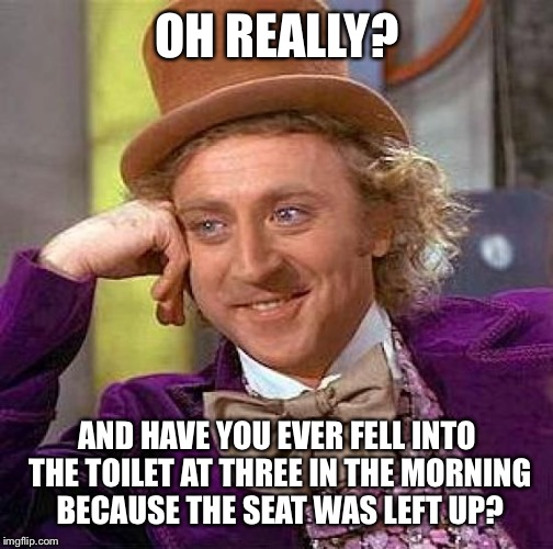 OH REALLY? AND HAVE YOU EVER FELL INTO THE TOILET AT THREE IN THE MORNING BECAUSE THE SEAT WAS LEFT UP? | image tagged in memes,creepy condescending wonka | made w/ Imgflip meme maker