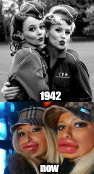 find the difference | 1942 now | image tagged in duck face chicks | made w/ Imgflip meme maker