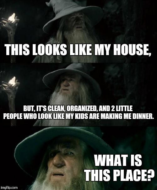 Confused Gandalf Meme | THIS LOOKS LIKE MY HOUSE, BUT, IT'S CLEAN, ORGANIZED, AND 2 LITTLE PEOPLE WHO LOOK LIKE MY KIDS ARE MAKING ME DINNER. WHAT IS THIS PLACE? | image tagged in memes,confused gandalf | made w/ Imgflip meme maker