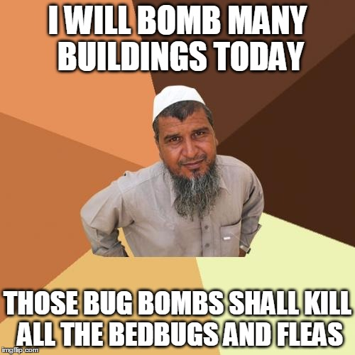 Ordinary Muslim Man Meme | I WILL BOMB MANY BUILDINGS TODAY THOSE BUG BOMBS SHALL KILL ALL THE BEDBUGS AND FLEAS | image tagged in memes,ordinary muslim man | made w/ Imgflip meme maker