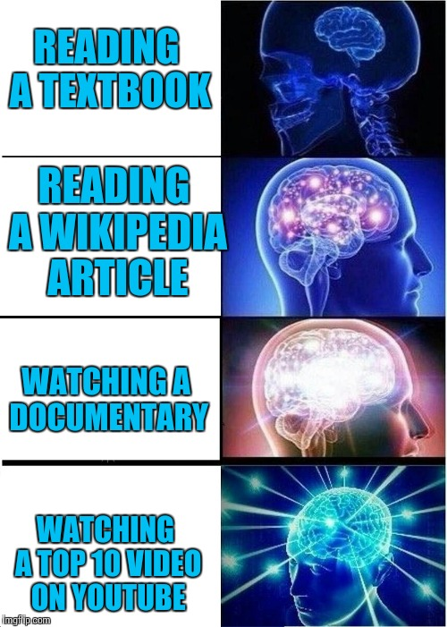 The life of a student | READING A TEXTBOOK WATCHING A TOP 10 VIDEO ON YOUTUBE READING A WIKIPEDIA ARTICLE WATCHING A DOCUMENTARY | image tagged in expanding brain,memes,trhtimmy | made w/ Imgflip meme maker