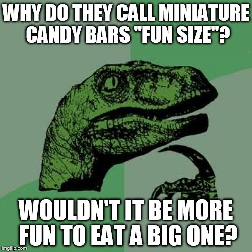 "Philosoraptor Meme | WHY DO THEY CALL MINIATURE CANDY BARS ""FUN SIZE""? WOULDN'T IT BE MORE FUN TO EAT A BIG ONE? 