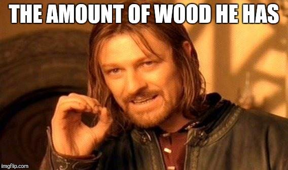 One Does Not Simply Meme | THE AMOUNT OF WOOD HE HAS | image tagged in memes,one does not simply | made w/ Imgflip meme maker