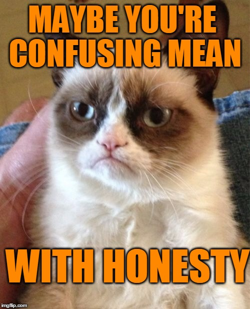 Grumpy Cat Meme | MAYBE YOU'RE CONFUSING MEAN WITH HONESTY | image tagged in memes,grumpy cat | made w/ Imgflip meme maker