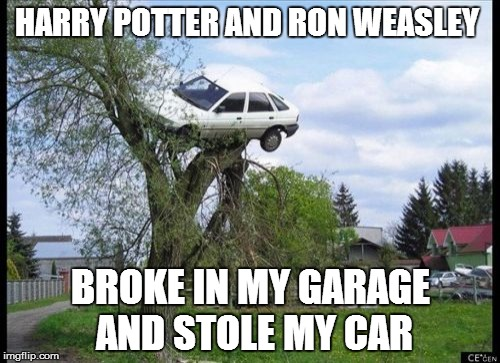 Secure Parking Meme | HARRY POTTER AND RON WEASLEY BROKE IN MY GARAGE AND STOLE MY CAR | image tagged in memes,secure parking,harry potter | made w/ Imgflip meme maker