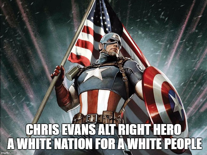 Captain America Flag Shield | CHRIS EVANS ALT RIGHT HERO A WHITE NATION FOR A WHITE PEOPLE | image tagged in captain america flag shield | made w/ Imgflip meme maker