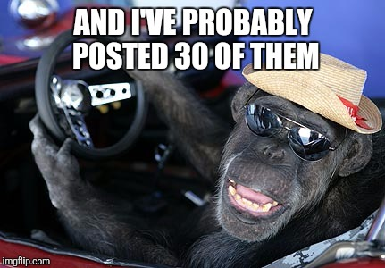 Monkey driver | AND I'VE PROBABLY POSTED 30 OF THEM | image tagged in monkey driver | made w/ Imgflip meme maker