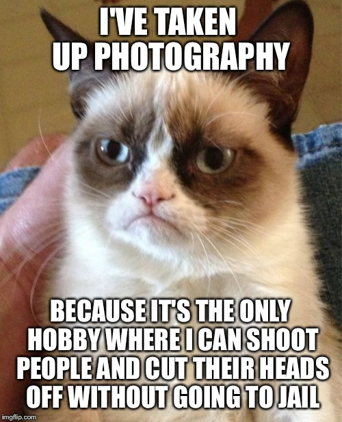 Grumpy Cat Meme | I'VE TAKEN UP PHOTOGRAPHY BECAUSE IT'S THE ONLY HOBBY WHERE I CAN SHOOT PEOPLE AND CUT THEIR HEADS OFF WITHOUT GOING TO JAIL | image tagged in memes,grumpy cat | made w/ Imgflip meme maker