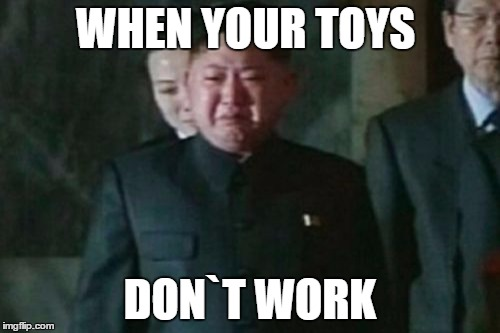 Kim Jong Un Sad Meme | WHEN YOUR TOYS DON`T WORK | image tagged in memes,kim jong un sad | made w/ Imgflip meme maker