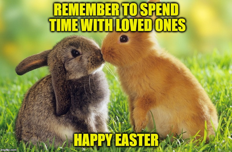 REMEMBER TO SPEND TIME WITH LOVED ONES HAPPY EASTER | image tagged in easter bunnies | made w/ Imgflip meme maker