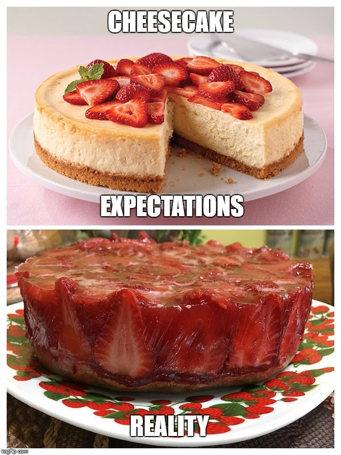 Cheesecake vs reality | CHEESECAKE REALITY EXPECTATIONS | image tagged in cheesecake,funny,expectation vs reality | made w/ Imgflip meme maker