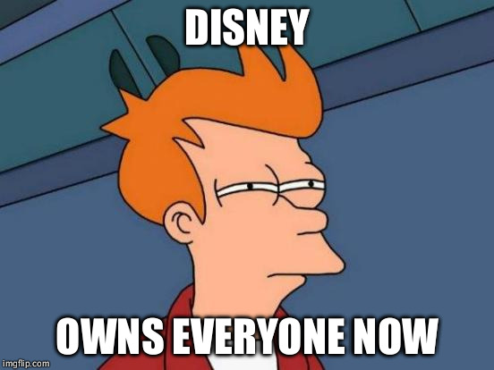 Futurama Fry Meme | DISNEY OWNS EVERYONE NOW | image tagged in memes,futurama fry | made w/ Imgflip meme maker