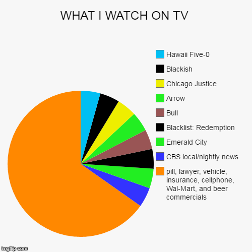 WHAT I WATCH ON TV | pill, lawyer, vehicle, insurance, cellphone, Wal-Mart, and beer commercials, CBS local/nightly news, Emerald City, Blac | image tagged in funny,pie charts | made w/ Imgflip pie chart maker