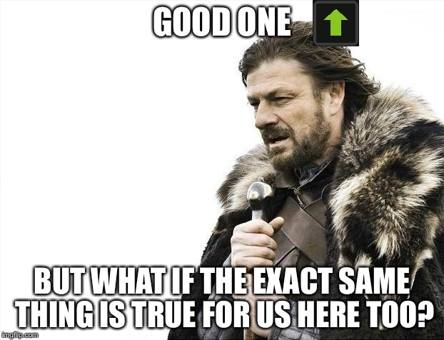 Brace Yourselves X is Coming Meme | GOOD ONE BUT WHAT IF THE EXACT SAME THING IS TRUE FOR US HERE TOO? | image tagged in memes,brace yourselves x is coming | made w/ Imgflip meme maker