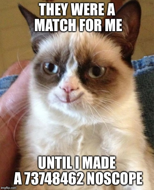 Happy grumpy cat | THEY WERE A MATCH FOR ME UNTIL I MADE A 73748462 NOSCOPE | image tagged in happy grumpy cat | made w/ Imgflip meme maker