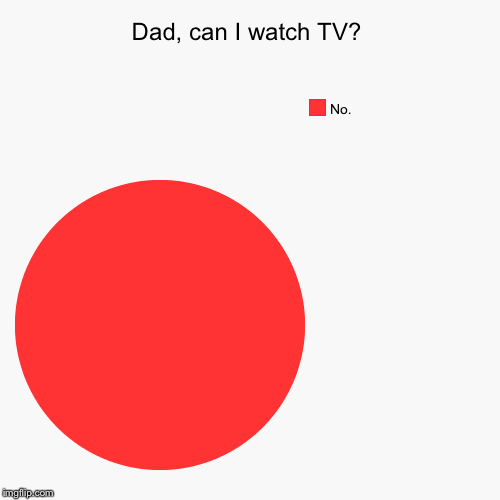 Dad, can I watch TV? | No. | image tagged in funny,pie charts | made w/ Imgflip pie chart maker