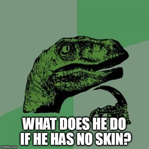 Philosoraptor Meme | WHAT DOES HE DO IF HE HAS NO SKIN? | image tagged in memes,philosoraptor | made w/ Imgflip meme maker