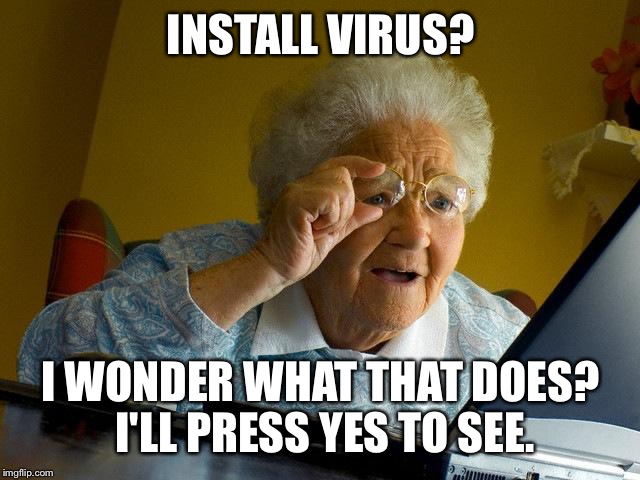 Grandma Finds The Internet | INSTALL VIRUS? I WONDER WHAT THAT DOES? I'LL PRESS YES TO SEE. | image tagged in memes,grandma finds the internet | made w/ Imgflip meme maker