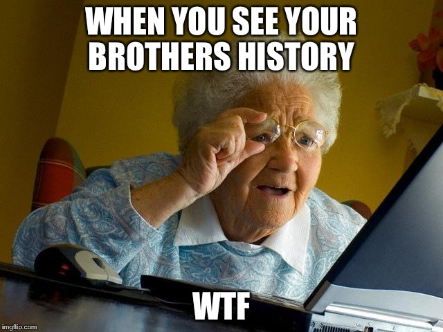 Grandma Finds The Internet | WHEN YOU SEE YOUR BROTHERS HISTORY WTF | image tagged in memes,grandma finds the internet | made w/ Imgflip meme maker