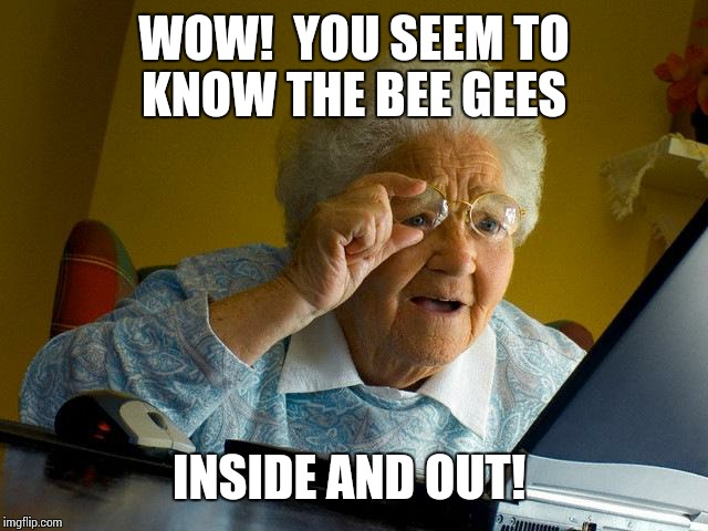 Grandma Finds The Internet Meme | WOW!  YOU SEEM TO KNOW THE BEE GEES INSIDE AND OUT! | image tagged in memes,grandma finds the internet | made w/ Imgflip meme maker